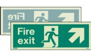 438DST/R - DOUBLE-SIDED FIRE EXIT SIGN UP TO THE RIGHT OR UP TO THE LEFT 120 x 340mm